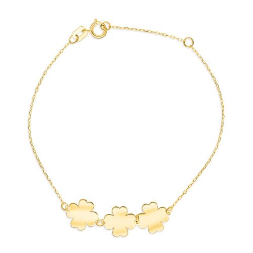 Złota bransoletka celebrytka - Potrójne Szczęście pr.333