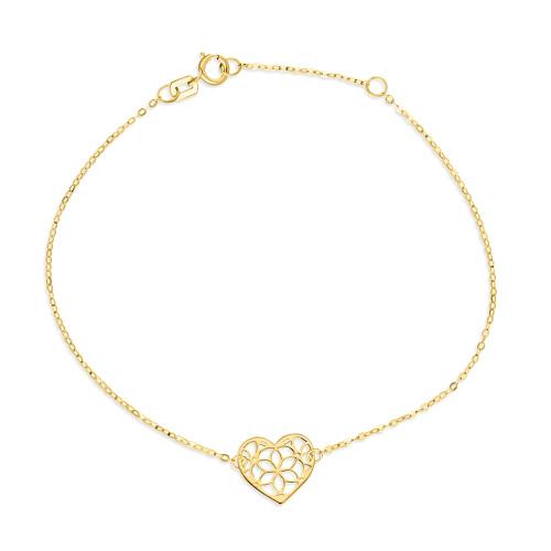 Złota bransoletka celebrytka - Ażurowe Serduszko pr.333