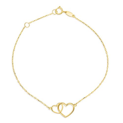 Złota bransoletka celebrytka - Połączone Serca pr.333