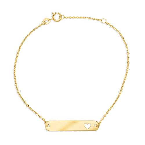 Złota bransoletka celebrytka - Blaszka z Sercem pr.333
