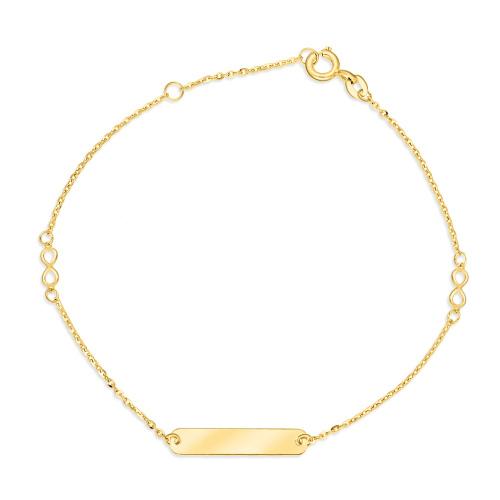 Złota bransoletka celebrytka - Blaszka z Niesończonością pr.333
