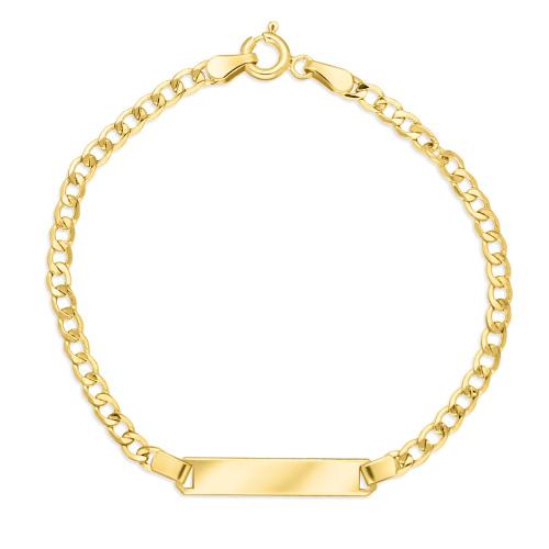 Złota bransoletka pancerka - Blaszka Pod Grawer 17cm pr.333