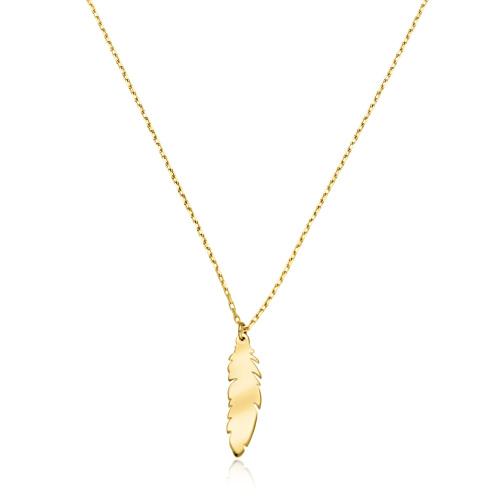 Złoty naszyjnik celebrytka - Delikatne Piórko pr.585