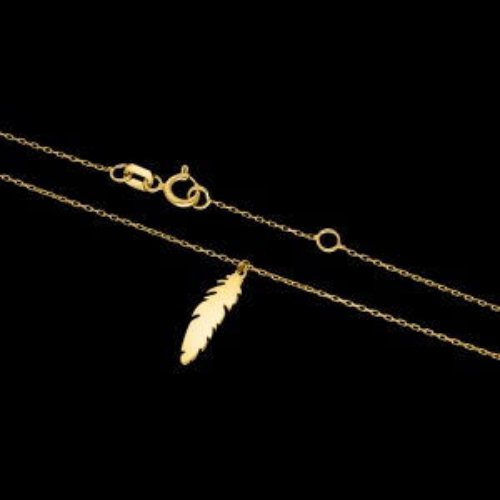 Złoty naszyjnik celebrytka - Delikatne Piórko pr.333
