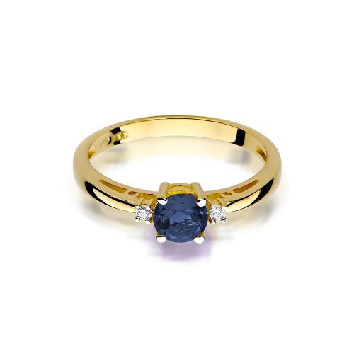 Pierścionek zaręczynowy z szafirem 0,50ct i brylantami pr.585