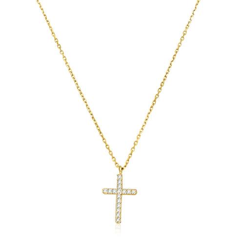 Złoty naszyjnik z cyrkoniami - Krzyżyk pr.333