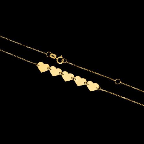 Złoty naszyjnik celebrytka - Połączone Serca pr.333