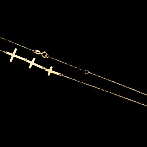 Złoty naszyjnik celebrytka - Potrójne Krzyżyki pr.333