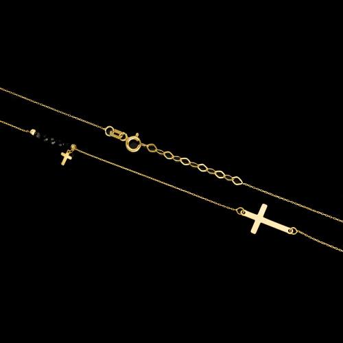 Złoty naszyjnik z kryształkami - Krzyżyki pr.333
