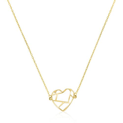 Złoty naszyjnik celebrytka - Serce Origami pr.333