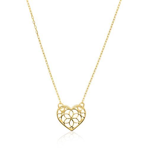 Złoty naszyjnik celebrytka - Ażurowe Serce pr.585