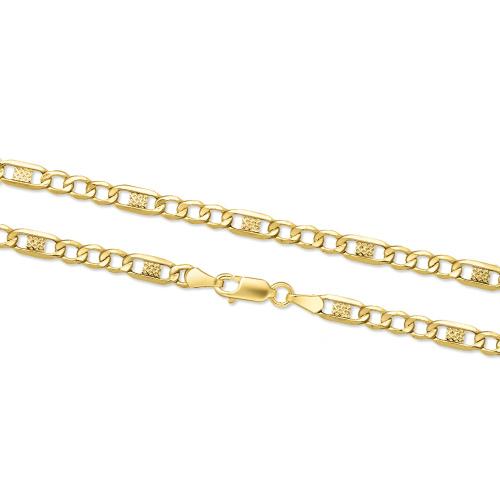 Złoty łańcuszek - Zdobione Figaro 45cm pr. 333
