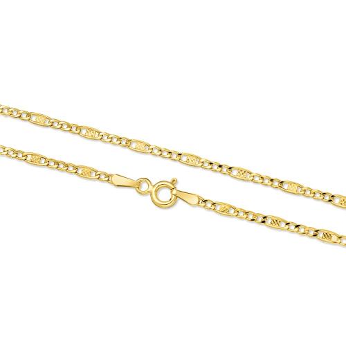 Złoty łańcuszek - Zdobione Figaro 50cm pr. 585