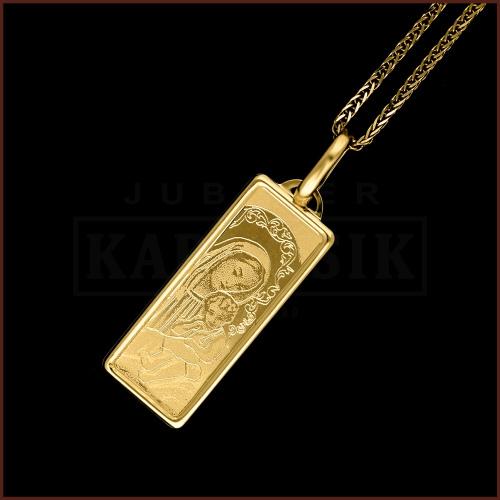 Złota zawieszka - Medalik Matka Boska z Dzieciątkiem pr.585