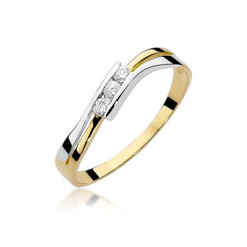 Pierścionek zaręczynowy z brylantem 0,12ct pr.585