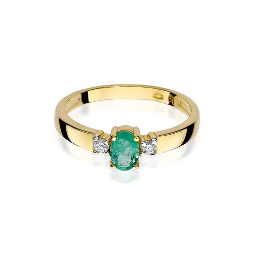 Pierścionek zaręczynowy ze szmaragdem 0,40ct i brylantami pr.585