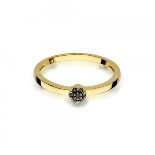 Pierścionek zaręczynowy z czarnymi brylantami 0,04ct pr.585