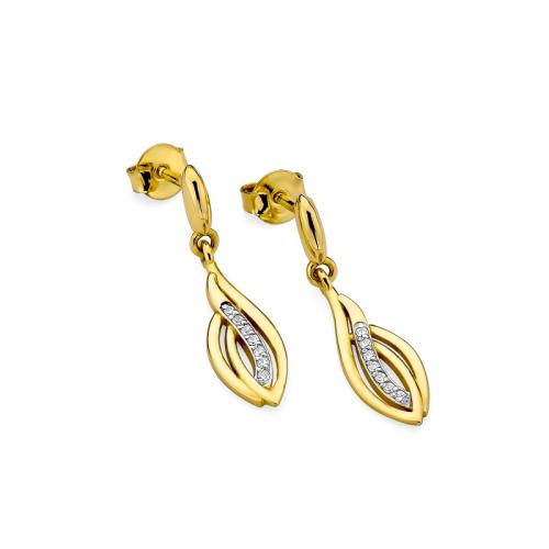Złote kolczyki z brylantami 0,07ct pr.585