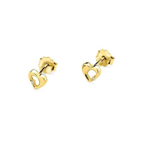 Złote kolczyki z brylantami - Srca 0,02ct pr.585