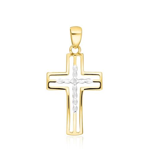 Złota zawieszka - Zdobiony Krzyżyk pr.585