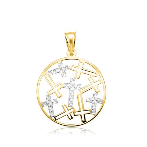 Złota ażurowa zawieszka - Medalik w Krzyże pr.333