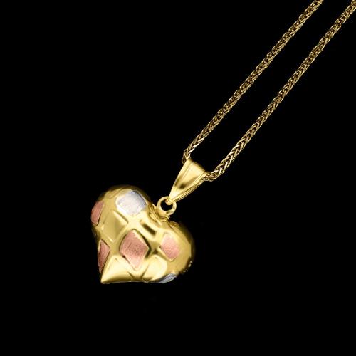 Złota zawieszka - Satynowane Trójkolorowe Serce pr.333