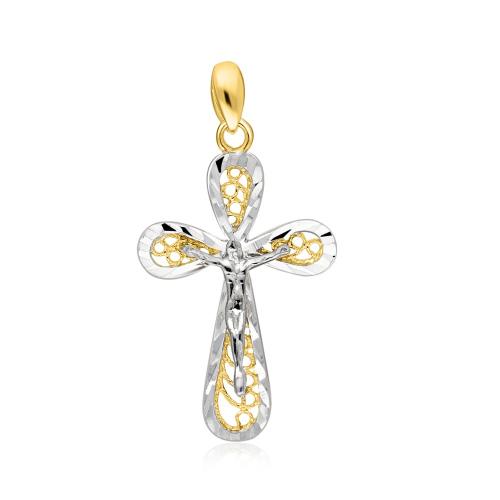Złota zawieszka - Zdobiony Krzyżyk pr.333