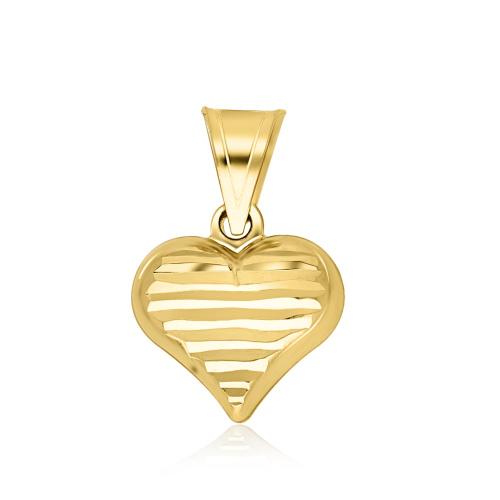 Złota zawieszka - Fasetowane Serce pr.585