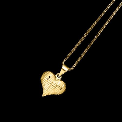 Złota zawieszka - Zdobione Serce pr.585