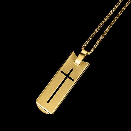 Złota zawieszka - Nieśmiertelnik z Krzyżykiem pr.585