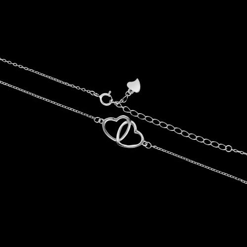 Srebrny naszyjnik celebrytka - Połączone Serca pr.925