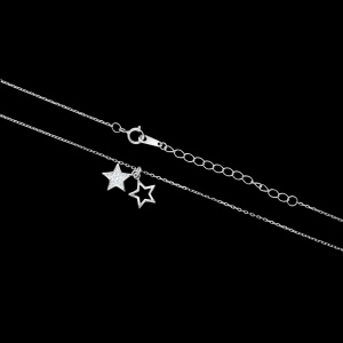Srebrny naszyjnik z cyrkoniami - Gwiazdki pr.925