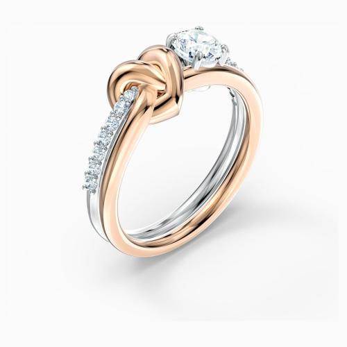 Pierścionek Swarovski - Lifelong Heart, Silver & Rose Gold