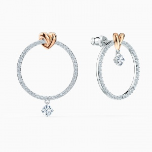 Kolczyki Swarovski - Lifelong Heart Hoop, Silver & Rose Gold 5517933
