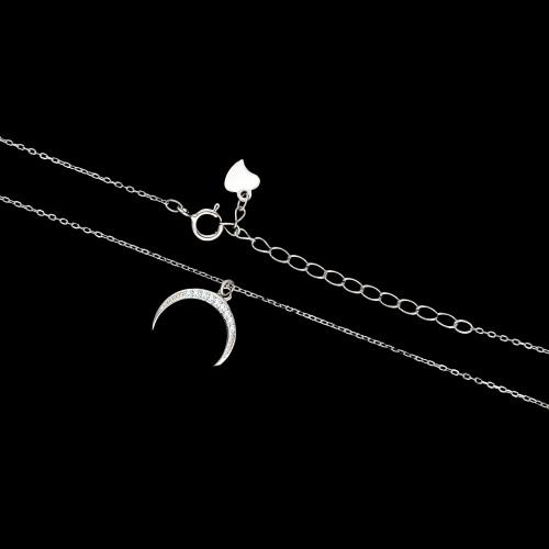 Srebrny naszyjnik z cyrkoniami - Księżyc pr.925