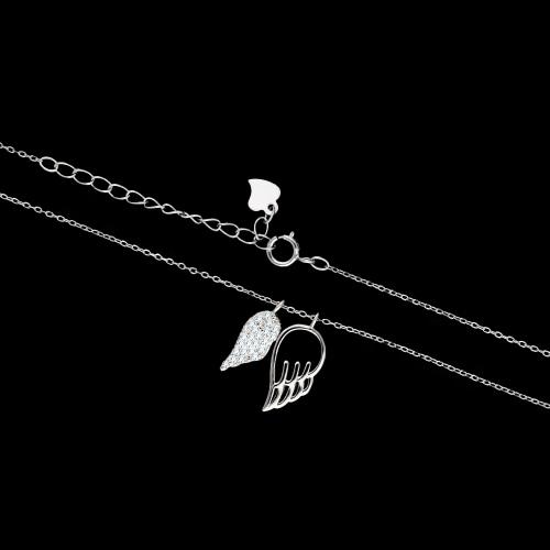Srebrny naszyjnik z cyrkoniami - Skrzydła pr.925