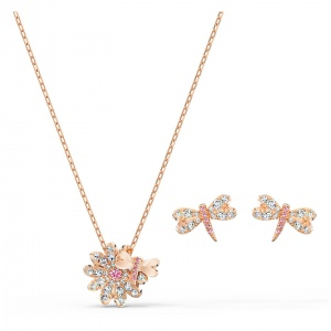 Zestaw Swarovski - Eternal Flower Dragonfly Set, Rose Gold 5518141