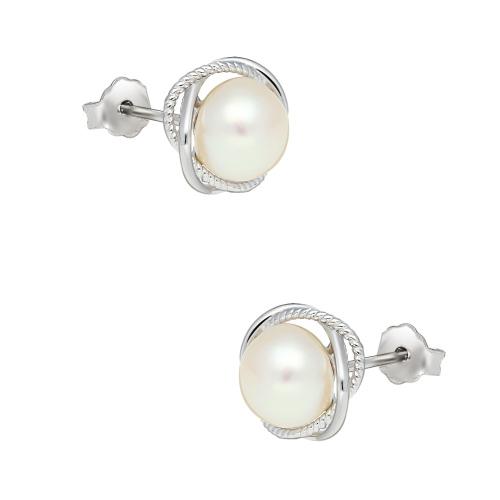 Srebrne kolczyki z perłami pr.925
