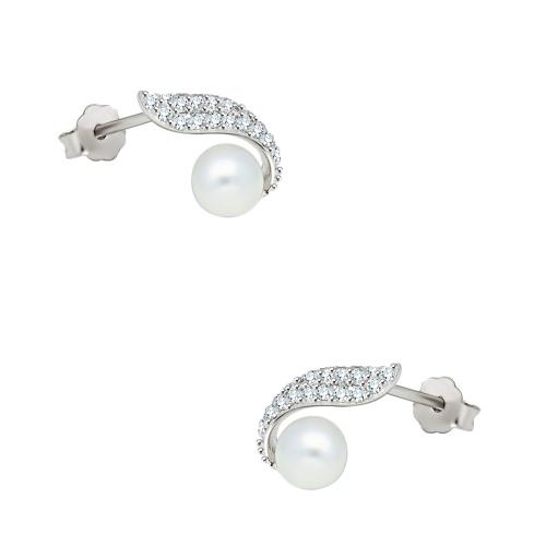 Srebrne kolczyki z cyrkoniami oraz perłami pr.925