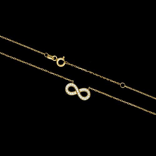 Złoty naszyjnik celebrytka z cyrkoniami - Nieskończoność pr.333
