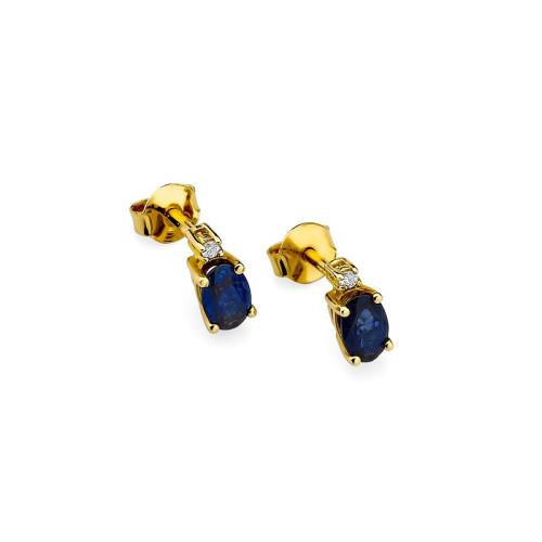 Złote kolczyki z brylantami i szafirami 0,70ct pr.585