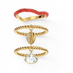 Zestaw pierścionków Swarovski - Shell Ring Set, Red, Gold