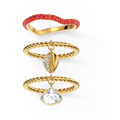 Zestaw pierścionków Swarovski - Shell Ring Set, Red, Gold