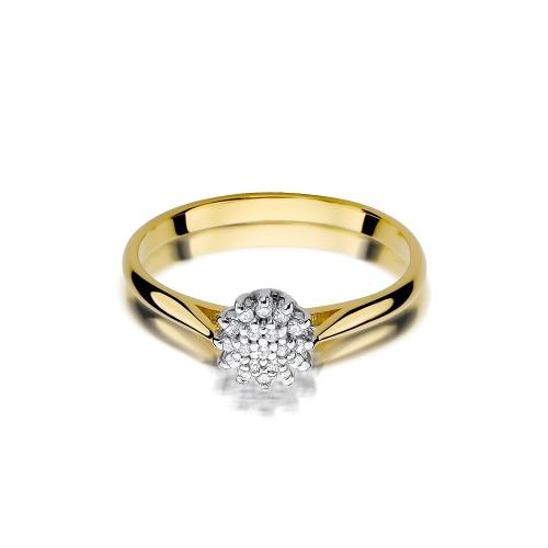 Pierścionek zaręczynowy z brylantami 0,10ct pr.585