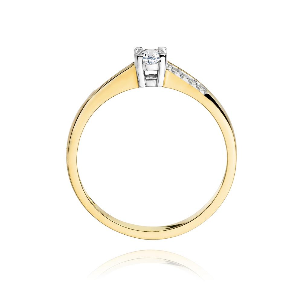 Pierścionek zaręczynowy 585 złoto z brylantami brylantami 0,19ct