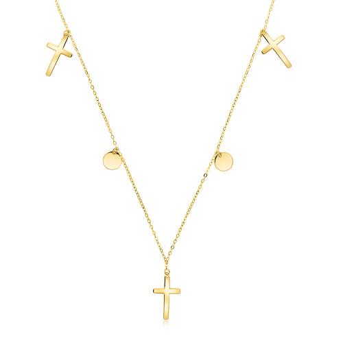 Złoty naszyjnik celebrytka - Krzyżyki, Monety pr.585