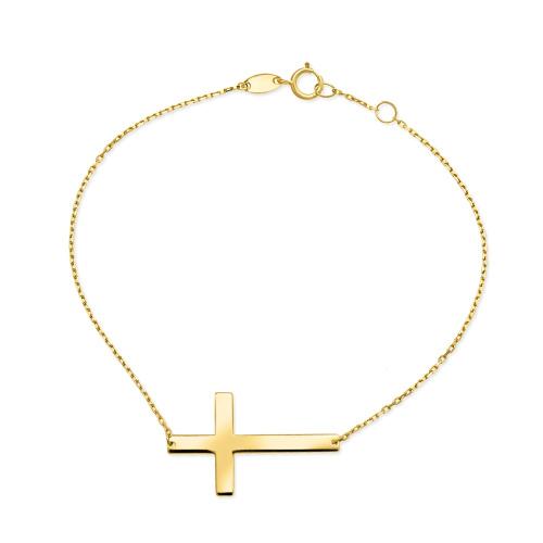 Złota bransoletka celebrytka - Krzyż pr.333