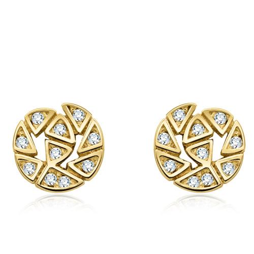Złote kolczyki z cyrkoniami - Spirala pr.585