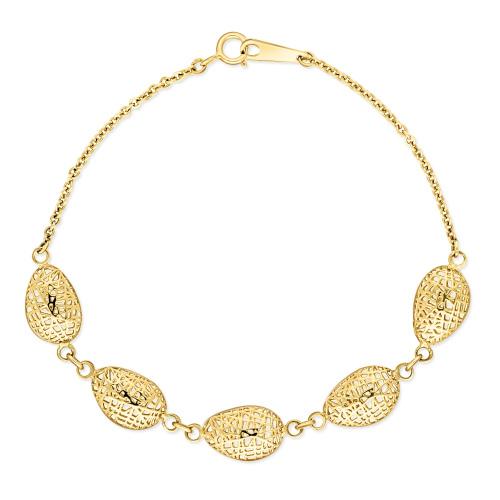 Złota bransoletka celebrytka - Ażurowe Migdały pr.585