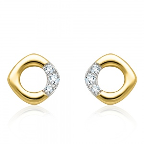 Złote kolczyki z diamentami 0,09ct pr.585